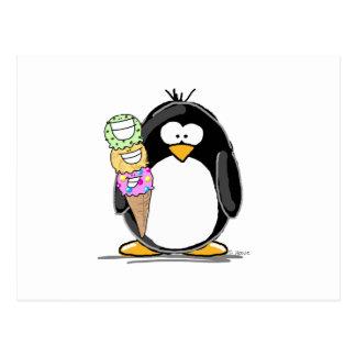 Pingüino del helado tarjetas postales
