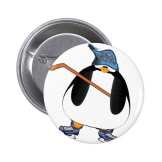 Pingüino del hockey pin redondo 5 cm