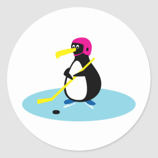 Pingüino del hockey sobre hielo pegatina redonda