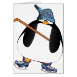 Pingüino del hockey tarjeta de felicitación