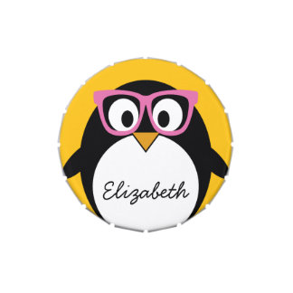 Pingüino del inconformista - rosa lindo del amaril latas de dulces