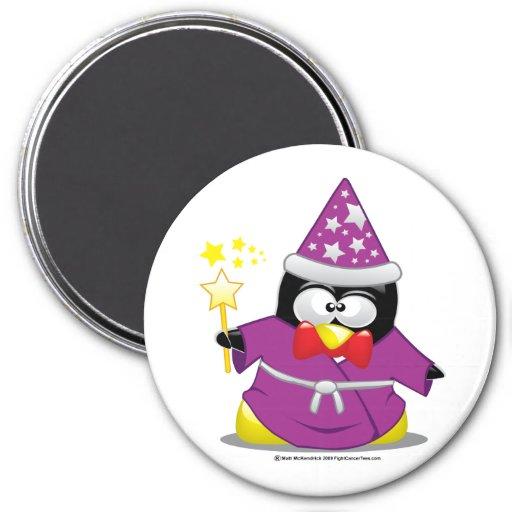 Pingüino del mago imán redondo 7 cm