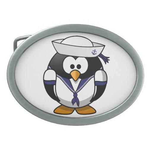 Pingüino del marinero hebilla de cinturon oval