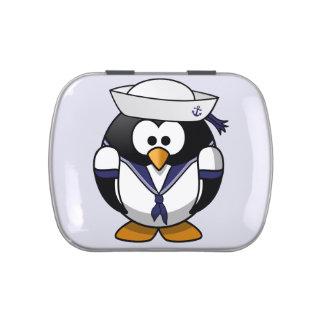Pingüino del marinero jarrones de caramelos