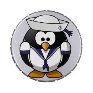 Pingüino del marinero jarrones de dulces