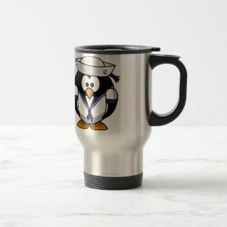 Pingüino del marinero taza de viaje de acero inoxidable