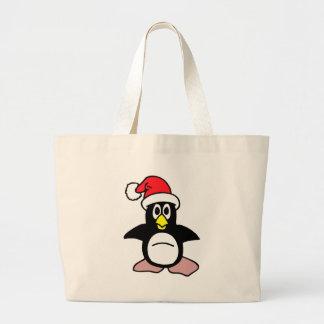 Pingüino del navidad bolsa tela grande
