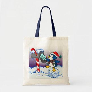Pingüino del navidad bolsa tela barata