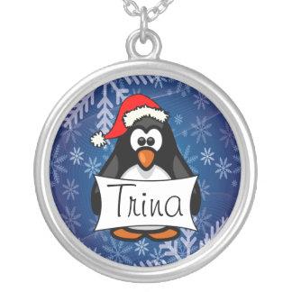 Pingüino del navidad collar plateado