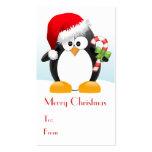 Pingüino del navidad con las etiquetas del regalo  tarjeta personal