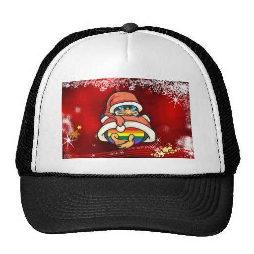 Pingüino del navidad del arco iris gorras de camionero