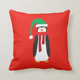 Pingüino del navidad del dibujo animado cojin