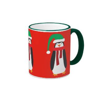 Pingüino del navidad del dibujo animado tazas