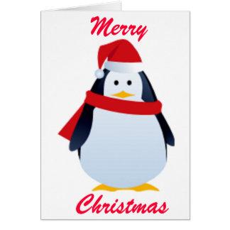Pingüino del navidad en un gorra de Santa Tarjeta De Felicitación