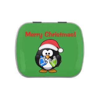 Pingüino del navidad latas de caramelos
