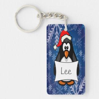 Pingüino del navidad llavero rectangular acrílico a una cara