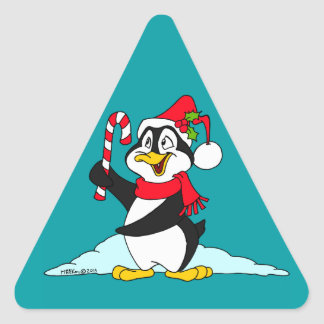 Pingüino del navidad pegatina triangular