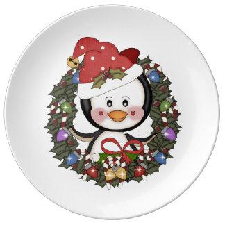 Pingüino del navidad platos de cerámica
