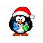 Pingüino del navidad postal