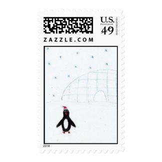 Pingüino del navidad sellos