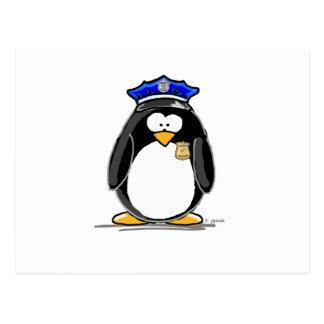 Pingüino del oficial de policía tarjeta postal