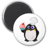 Pingüino del panadero con la magdalena II Imán Para Frigorífico