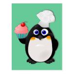 Pingüino del panadero con la magdalena II Postales