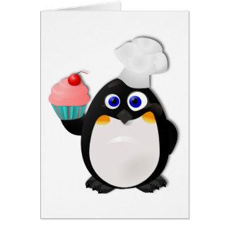 Pingüino del panadero con la magdalena II Tarjeta De Felicitación