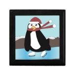 Pingüino del patinaje de hielo cajas de regalo