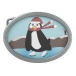 Pingüino del patinaje de hielo hebillas de cinturón