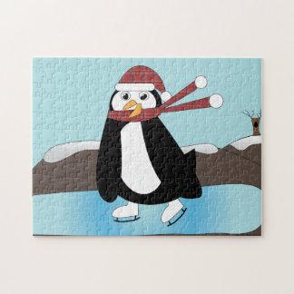 Pingüino del patinaje de hielo rompecabezas con fotos