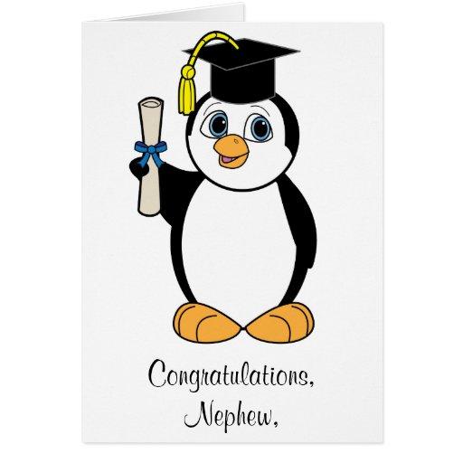 Pingüino del personalizable de la graduación de la tarjeta de felicitación