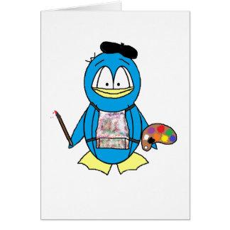 Pingüino del pintor felicitación