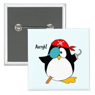 ¡Pingüino del pirata Argh! Pin Cuadrado