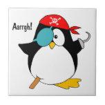 Pingüino del pirata azulejos cerámicos