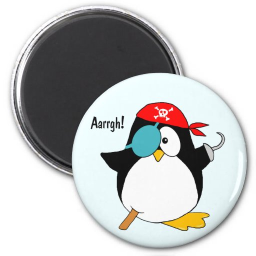 Pingüino del pirata imán redondo 5 cm