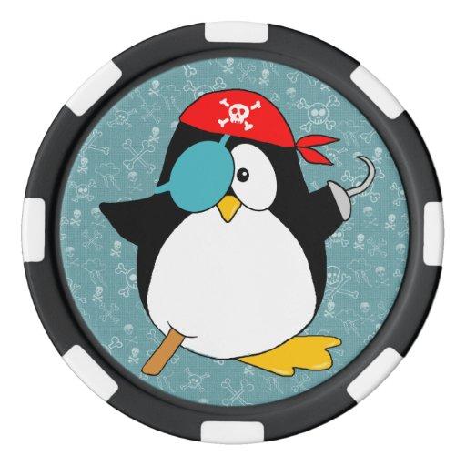 Pingüino del pirata juego de fichas de póquer