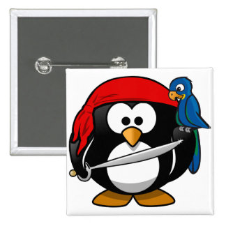 Pingüino del pirata pin cuadrado