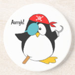 Pingüino del pirata posavasos personalizados