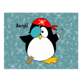 Pingüino del pirata tarjetas postales