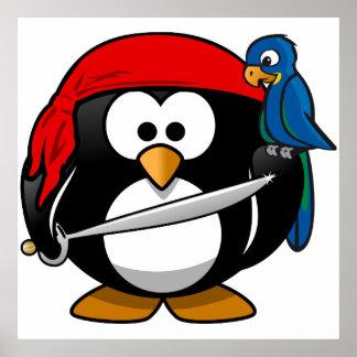 Pingüino del pirata póster