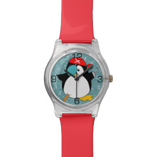 Pingüino del pirata relojes de pulsera