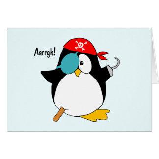Pingüino del pirata tarjeta de felicitación