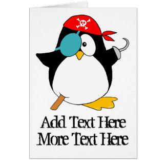 Pingüino del pirata felicitación