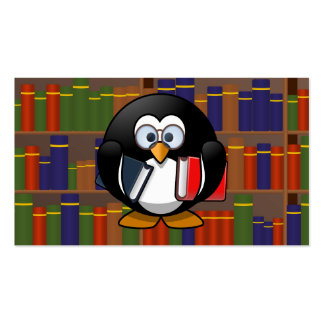 Pingüino del ratón de biblioteca en una biblioteca plantillas de tarjeta de negocio