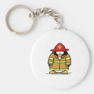 Pingüino del rescate del fuego llavero redondo tipo pin