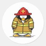 Pingüino del rescate del fuego pegatina redonda