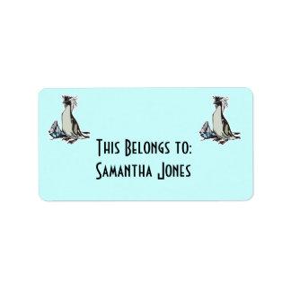 pingüino del rockhopper etiqueta de dirección