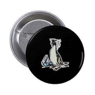 pingüino del rockhopper pin redondo de 2 pulgadas