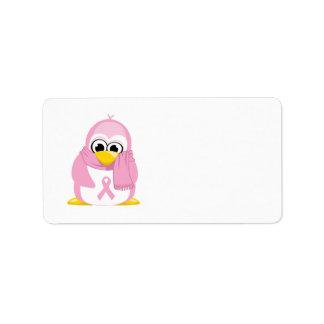 Pingüino del rosa del cáncer de pecho etiquetas de dirección